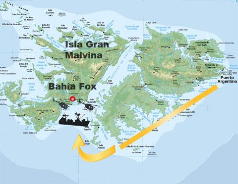 Ubicación de Bahía Fox en Isla Gran Malvina